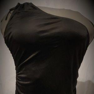 Express Women's One Shoulder Dress Shirt. Black